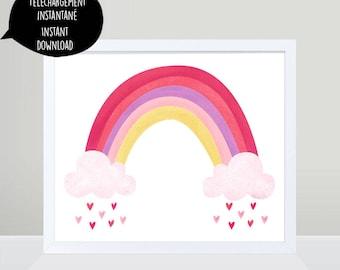 Rainbow,rainbow art,rainbow illustration,rainbow print,rainbow wall art,pink rainbow,rainbow nursery,girl wall art,girl print,nursery print