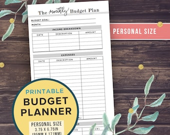 PERSONAL Size Budget Planner, Printable Inserts, Filofax Personal or Kikki K Medium, 3.75 x 6.75 inches, Financial Planner, Monthly Budget