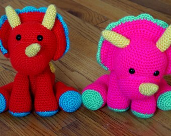 Cute Crocheted Triceratops Toy