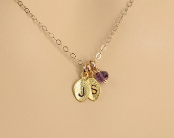 Personalized Dainty Birthstone Necklace, Gold Initial Leaf Charm Necklace, Simple Birthstone Jewelry, Friendship Jewelry, Gift for Wife