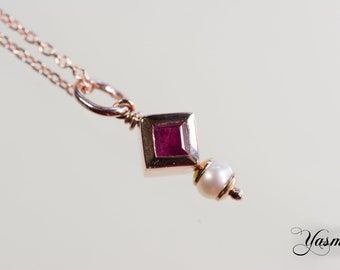 Ruby and Pearl on silver rose gold plated