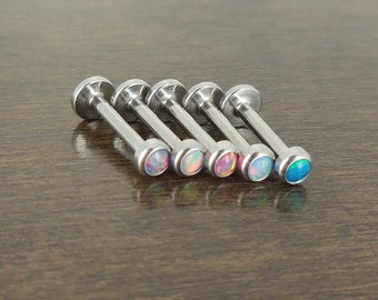 5 Pc Set Lot 8mm 16g TRAGUS 3mm Opal Internally Threaded Piercing Stud Earring Anti-Tragus Labret Monroe Internally Threaded Lip Rings