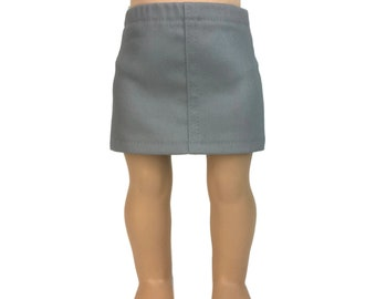 Gray Stretch Denim Skirt - Doll Clothes made for 18 inch American Girl Dolls