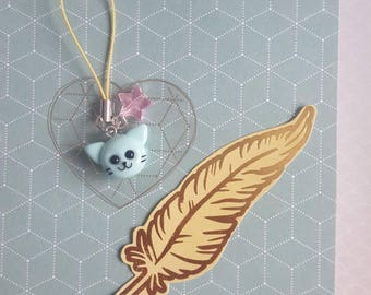 Cat charm - Polymer Clay charm with cell phone strap