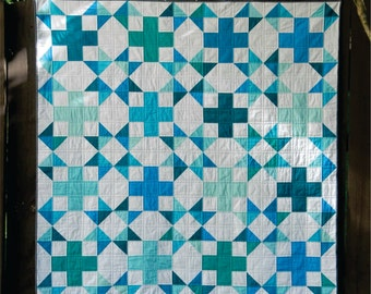 Sea Star - digital quilt pattern - fat quarter, 1/4 yard, and scrap friendly - baby, lap, twin, queen, and king Sizes