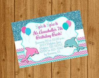Dolphin Under the Sea Birthday Invitation, Under the Sea Party Invitation, Dolphin Birthday, Printable Invitation