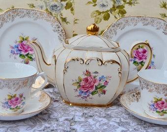 Sadler Teapot, Balfour Tea Trio Pair- Tea for Two Set, Rose Floral Bouquet, Gilt, Cups, Saucers, Plates, Very Good Condition