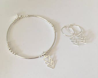 Sterling Silver Triple Triangle set
