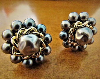 Vintage Japan Grey and Gold Chain Button Earrings