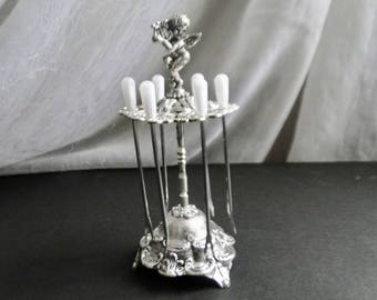 Vintage Silver Tone Cherub Holding a Harp on Stand with Six Pearlized Appetizer Forks / Appetizer Fork Set / Serving Utensil