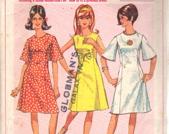 1960s Simplicity 6936 Misses A Line Dress Pattern Princess Line Bell Sleeves Womens Vintage Sewing Pattern Size 10 T Bust 30 OR Size 14 B 34