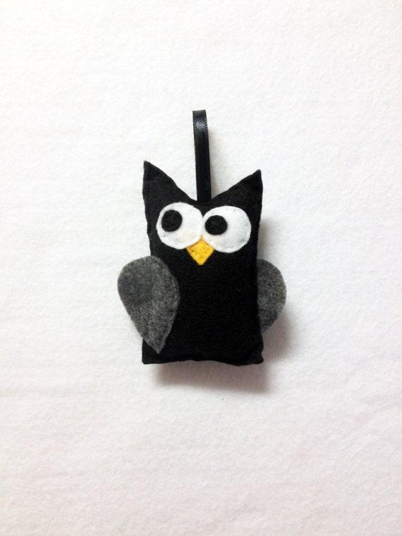 Owl Ornament, Ornament, Halloween Ornament, Christian the Black Owl, Christmas Ornament