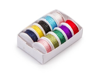 Miniature Sewing Trims Dollhouse Assorted Thread Craft Supplies Ribbon Diorama Shadow Supply Accessory 1:12 Scale White Box - 339