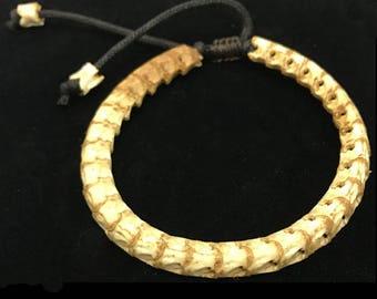 "Snake vertebrae bracelet- natural snake bone- men's adjustable bracelet-adjustable from 9"" to 16""-average men's size"