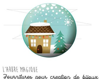 2 cabochons craft Christmas tree ref 1476 House - 18 mm