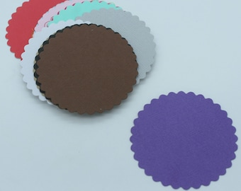 Round scalloped : Die-cut cutting cardstock paper embellishment scrapbooking