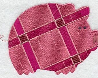 Plaid Pig Embroidered Flour Sack Hand/Dish Towel