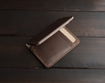 Leather Wallet Leather Card Holder Leather Card Sleeve Wallet Horween Leather Chromexcel Slim Minimalist Card Carrier Card Wallet Bifold