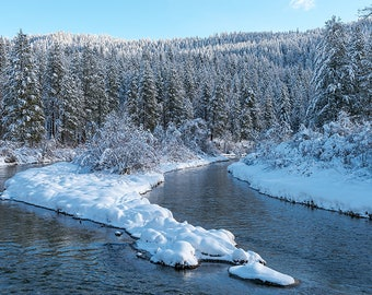 Winter Scene Icicle River,Winter Image, Icicle River Photo,