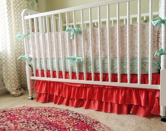 Custom Crib Bedding in Aqua, Coral, and Gold with Brambleberry Ridge Sheet