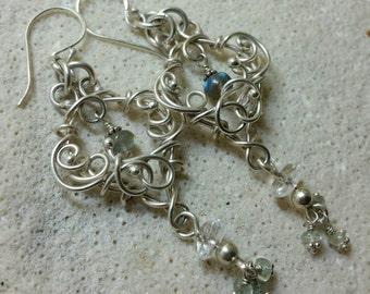 Boho Bride Wedding Earrings - Labradorite Natural Stone and Long Sterling Silver Earrings -  Handmade and Shiny