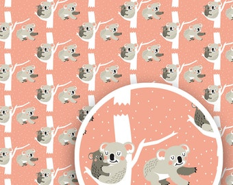 "Koala gift wrap, 3 sheets, 16,53"" x 23,39"" (420 x 594 mm), wrapping paper, gift packaging, koala pattern"