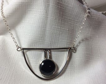 """Black onyx and sterling silver chocker necklace 17.5"""""""