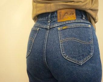 80s Vintage Lee Denim Jeans// Size 27// Vintage Lee Jeans// Vintage Denim// Blue Jean Baby