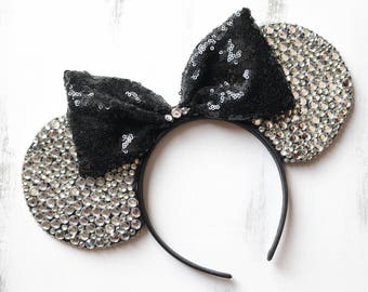 Silver Diamond Jewel Minnie Mouse Ears