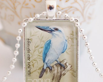 postage stamp pendant, kingfisher bird necklace, Papua New Guinea 1981 vintage postage stamp jewelry