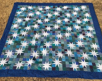 King quilt, stars in the evening sky