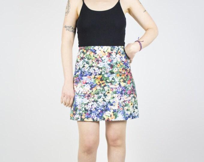 Vintage Floral Skirt | 90s High Waist Grunge Skirt | Two Pocket Flower Skirt