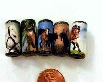 Horse Beads -  Handmade Paper Tube Beads - - Set/5 -  PB33