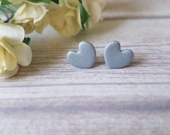 Silver heart earrings, Earrings for girls, Girlfriend gift, Cute earrings silver heart, Hypoallergenic earrings for girls, Everyday earrings