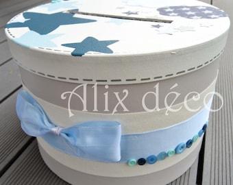 Baptism box, round cardboard box, accessory for christening, Star decor