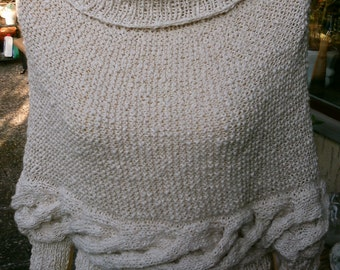 Knitted poncho sweater, natural white, size 36-38