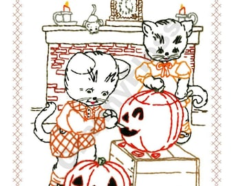 Halloween Card -  Cats Carving Pumpkins.