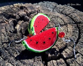 Watermelon Earrings, Polymer clay jewelry, Red fruit earrings, Juicy jewellery, Watermelon slice, Berry earrings, Fruit jewelry