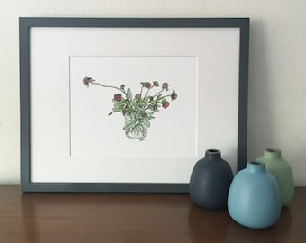 Pom Pom Bouquet // Gomphrena // Floral Watercolor Print // Flower Art // Garden Inspired
