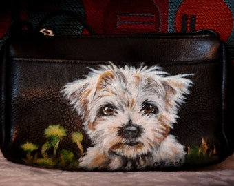 Mini Leather Crossbody Purse with Front Pocket, 'Toni' the pup painted