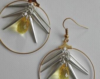Gold hoops - cones & drops yellow 6cm