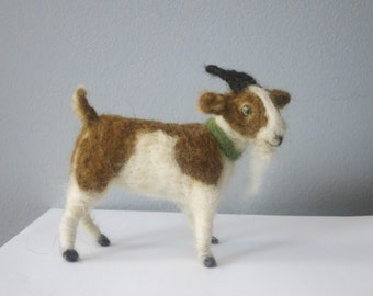 Brown and white needle felted goat