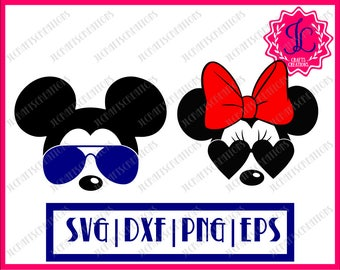 Mickey SVG, Minnie SVG, Bundle svg, Mickey Sunglasses, Minnie Sunglasses, SVG Files, Cricut Cut Files, Silhouette Cut Files