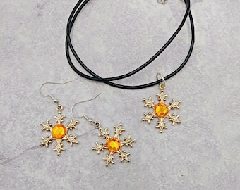 Snowflake Necklace and Earring Set