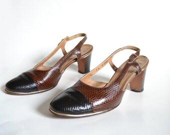 1960s shoes 60s Shoes Vintage Shoes Womens Shoes Spectator Shoes, Brown Shoes, Mod Shoes brown heels brown pumps  Size 7 Shoes cap toe shoes