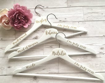Bride Hanger Wedding Hangers Personalised Bride Dress Hangers Bridesmaid Dress Personalised Wooden Hanger