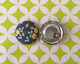 Button Earrings / Fabric Covered / Bulk Jewelry / Blue Floral Earrings / Gifts for Her / Small Studs / Vintage Accessories / Handmade