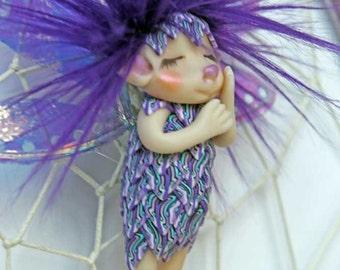 Dreamcatcher fairy in violet faerie fae troll gnome art doll