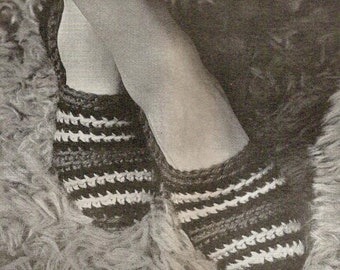 Quick to Make House Slippers Vintage Crochet Pattern 186