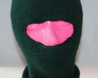 Vintage DARK GREEN Ski Mask, 1970's or 1980's